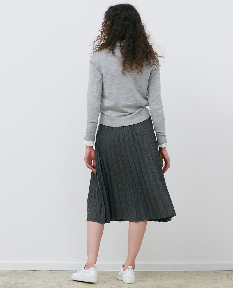 Cardigan court en laine mérinos Melange grey Palabre