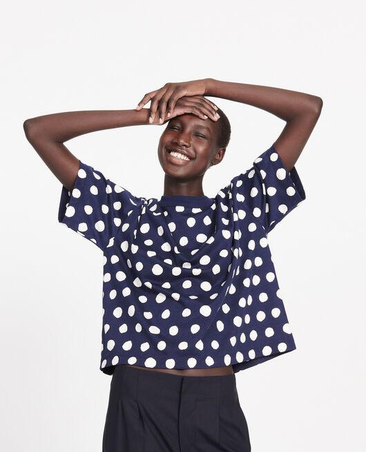 T-shirt boxy à pois en coton DOTS MARITIME BLUE