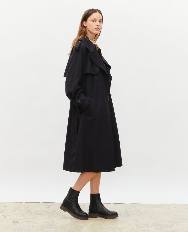 Trench long fluide en laine Black beauty Messimy