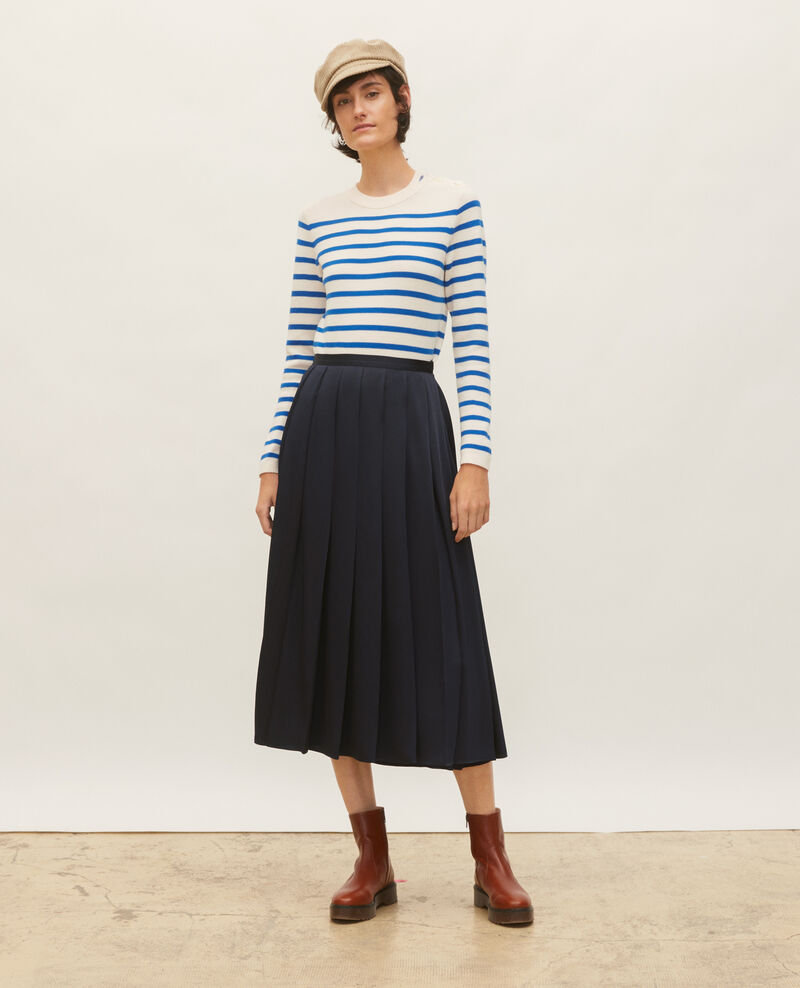 MADDY - Pull marin en laine Stripes princess blue gardenia Liselle