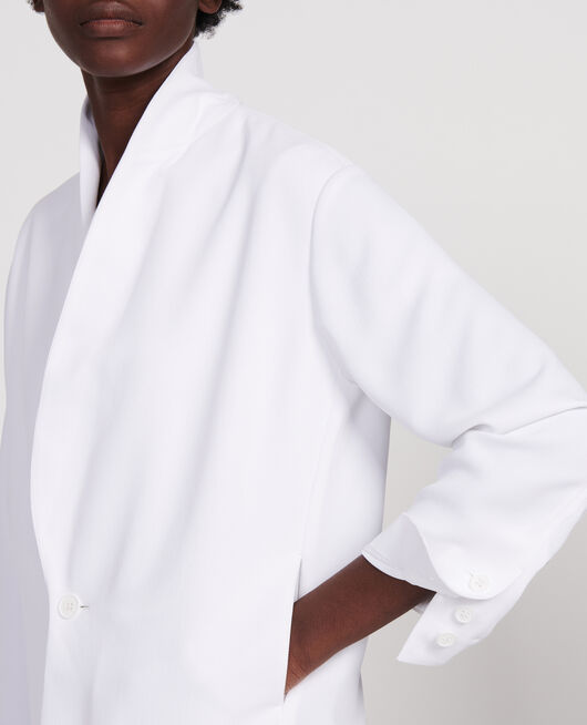 Veste de smoking en polyester fluide OPTICAL WHITE