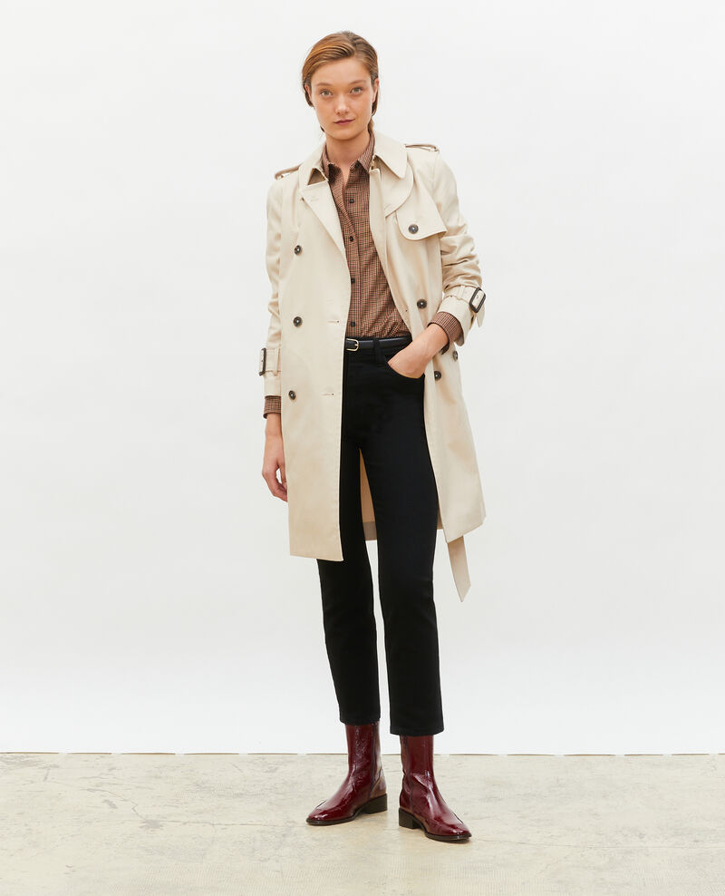 Trench ceinturé mi-long en coton Smoke gray Mambert