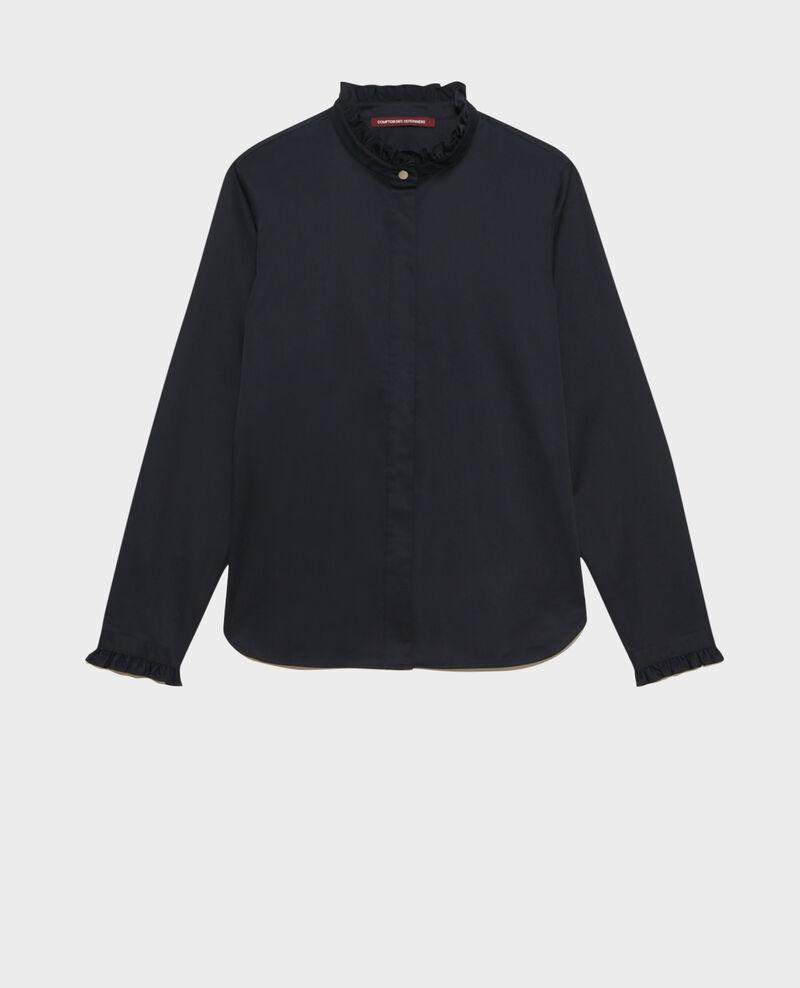 Chemise en coton à col volanté Night sky Marcenat