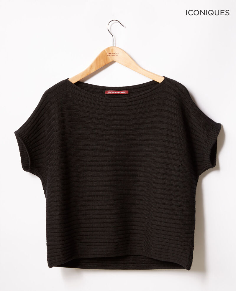 Pull manches courtes en maille côtelée zéro couture Noir Falsi