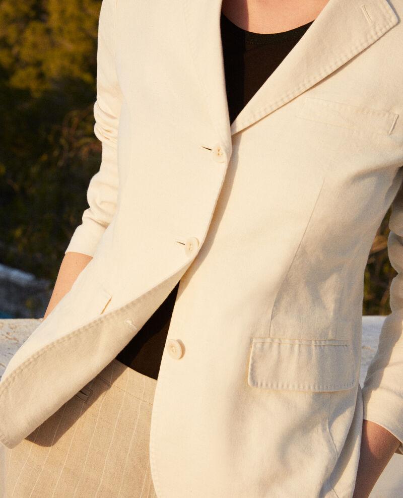 Veste de costume avec du lin Off white Ibea