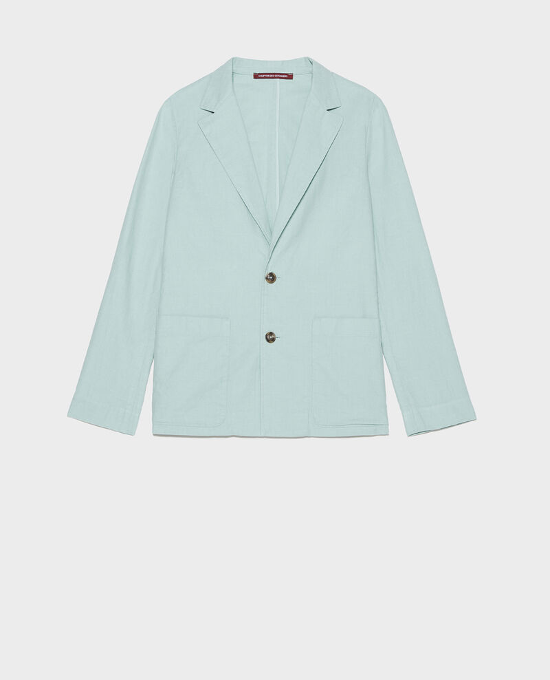 Veste de costume en twill de lin et coton mélangés Blue haze Lalbere