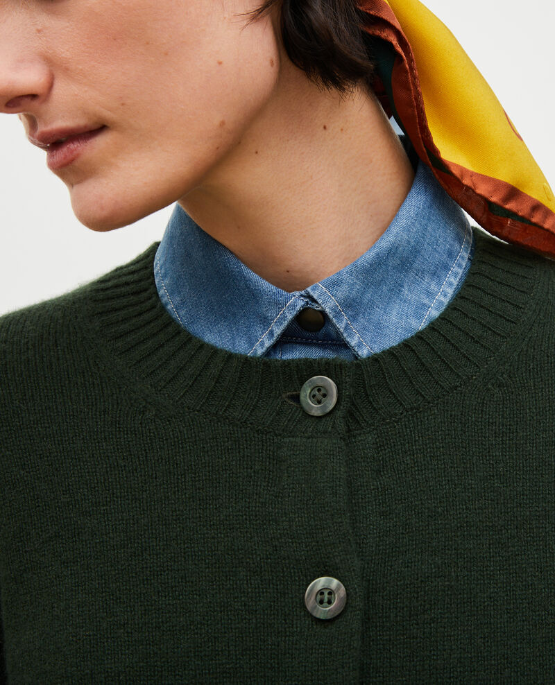 Cardigan en cachemire à col rond Military green Marolle