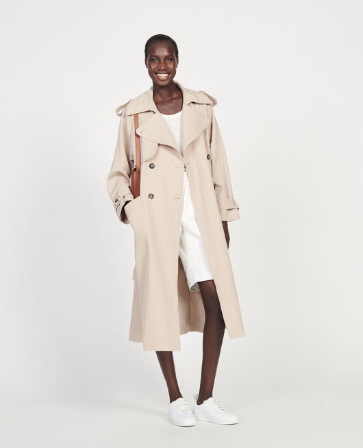 Trench oversize en laine fluide OXFORD TAN