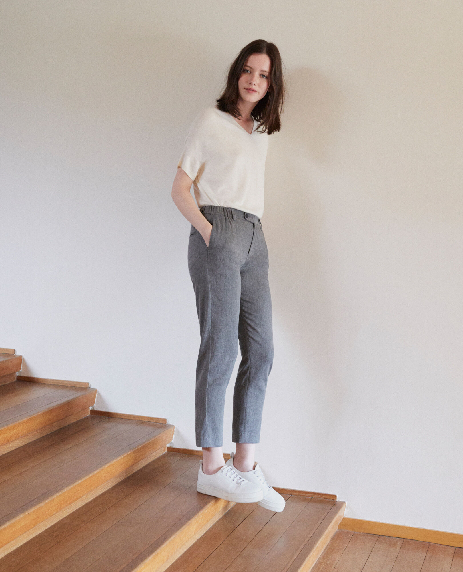 Grey Carotte Pantalon Femme Couleur Coupe Galetto Medium nqnZCHw