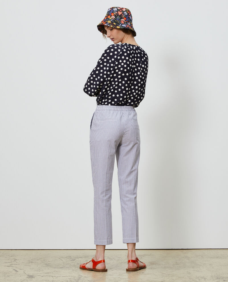 Pantalon MARGUERITE, 7/8e cigarette en coton Str navy Nyokeasy
