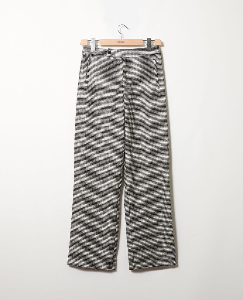 Pantalon large en flanelle pied de poule Houndtooth Jitac