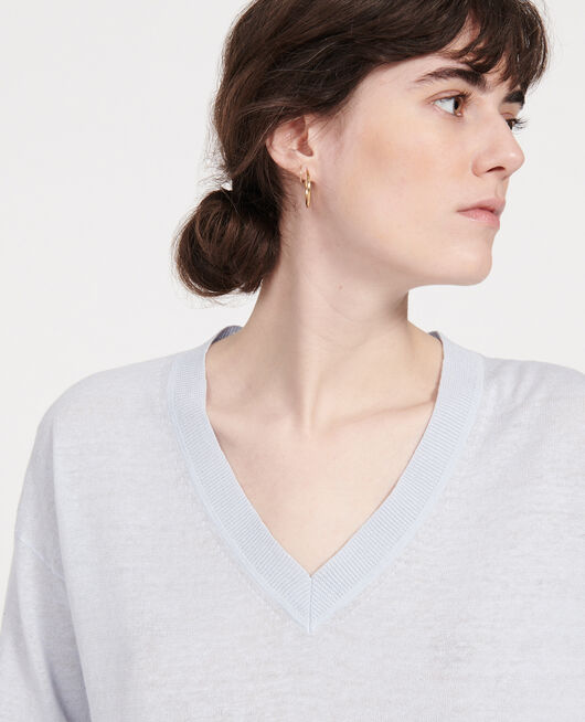 Pull col  V en lin et coton HEATHER