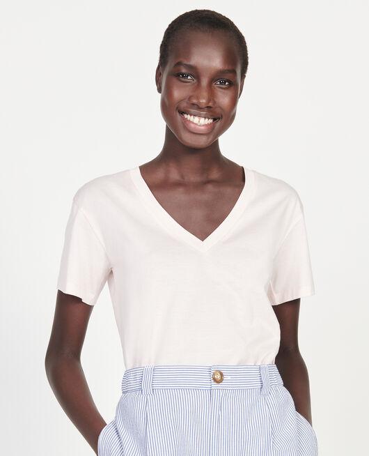 T-shirt en coton à manches courtes col V PRIMROSE PINK