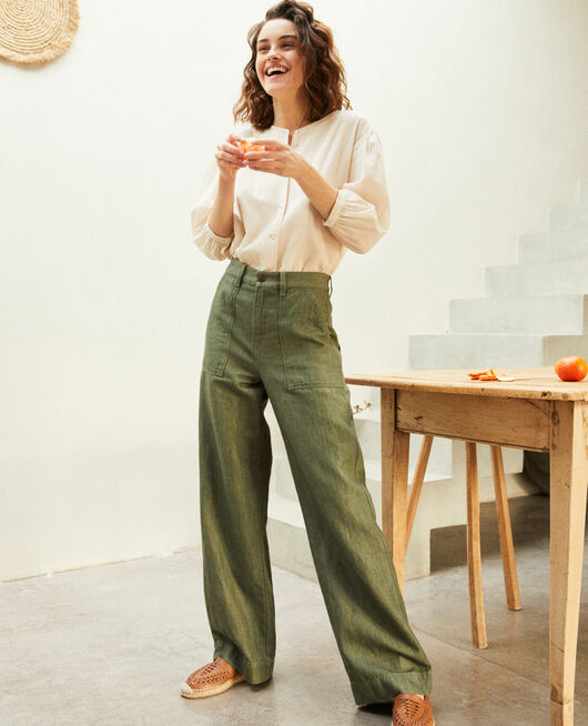 Pantalon avec du lin CHENG OLIVE