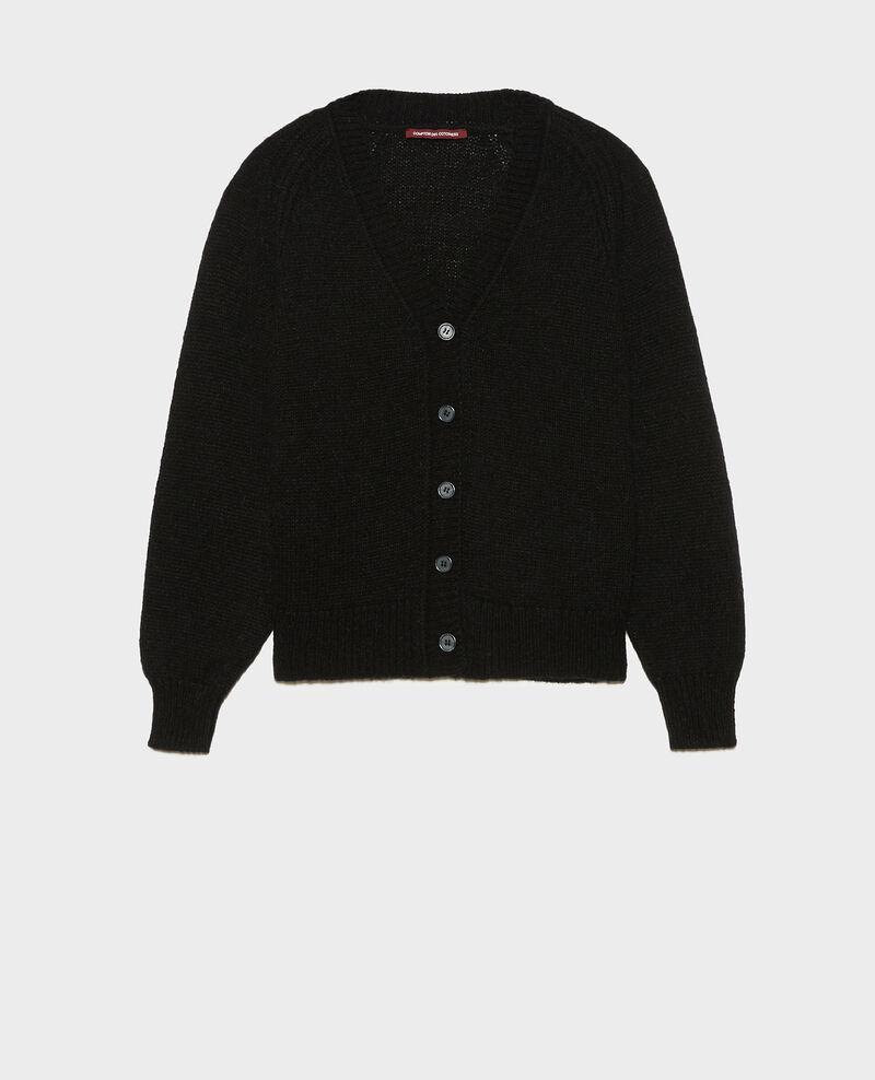 Cardigan oversize col V en laine Black beauty Montfuji