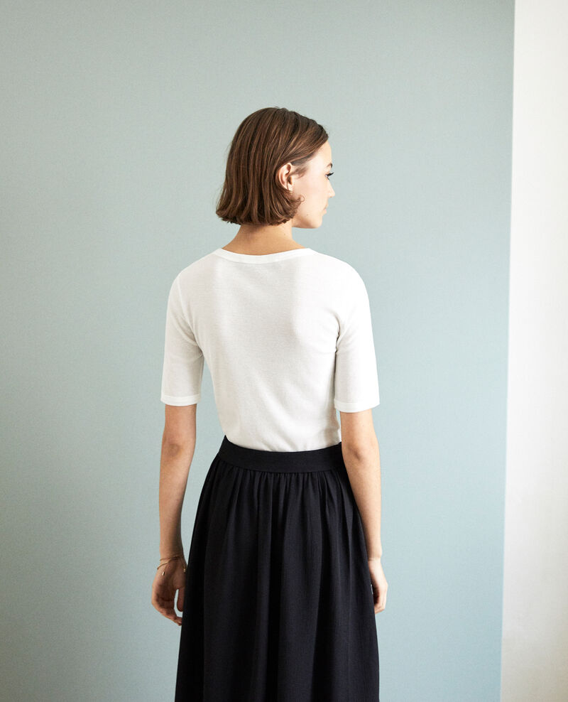 T-shirt côtelé Blanc Ibabie