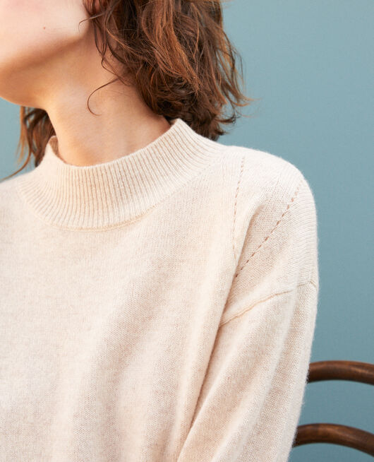 Pull en cachemire col montant SILVER GRAY
