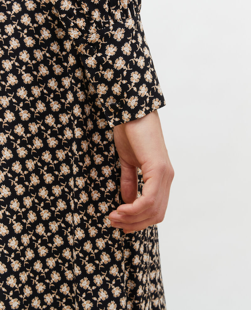 Robe portefeuille évasée à imprimé fleuri Print fleurettes black latte Maymeca