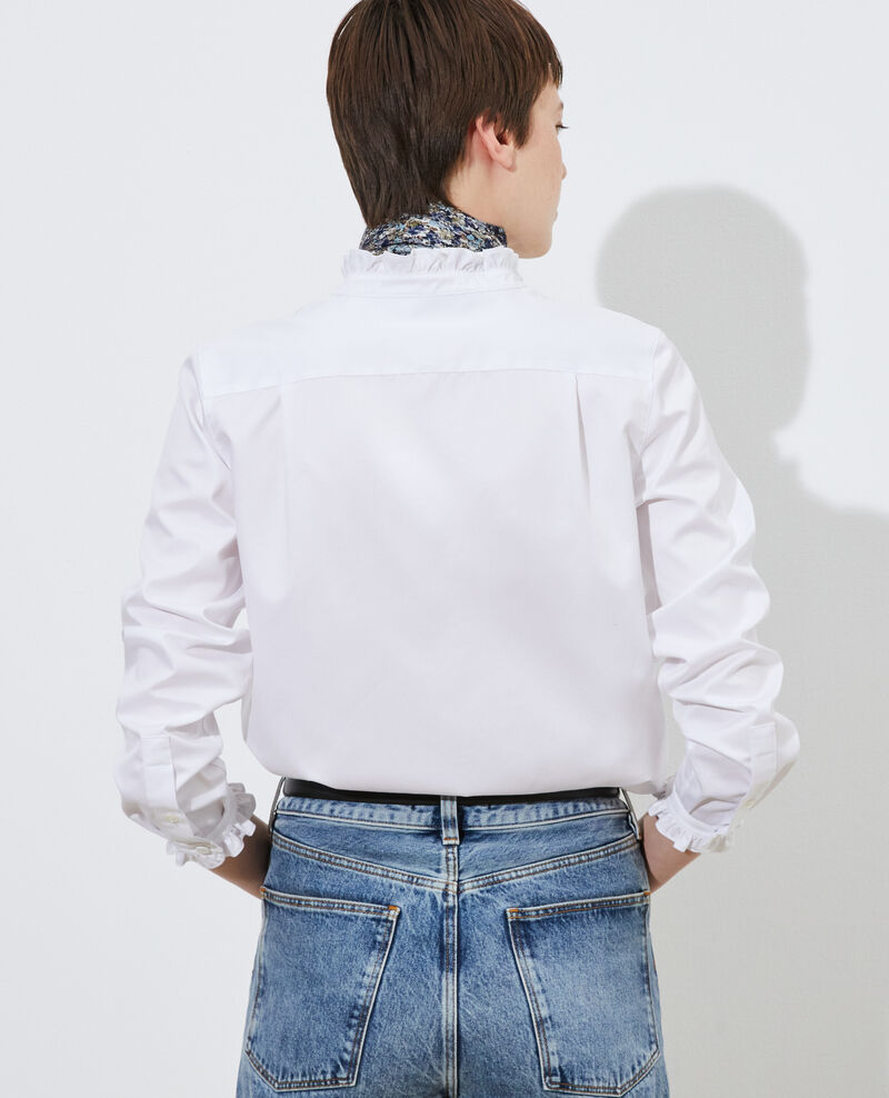 Chemise en coton à col volanté Brilliant white Marcenat