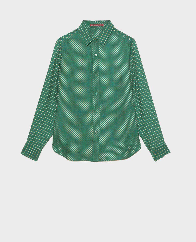 Chemise d'homme en soie manches longues Little pois dark green Morigesa