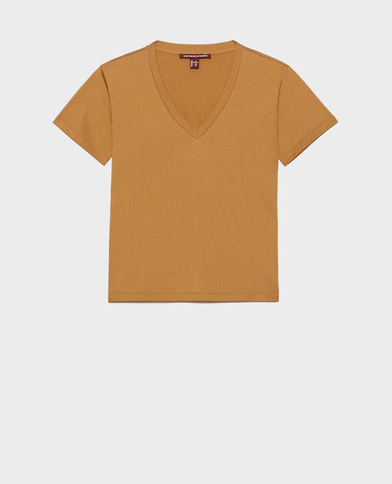 T-shirt en coton col V Latte Laberne