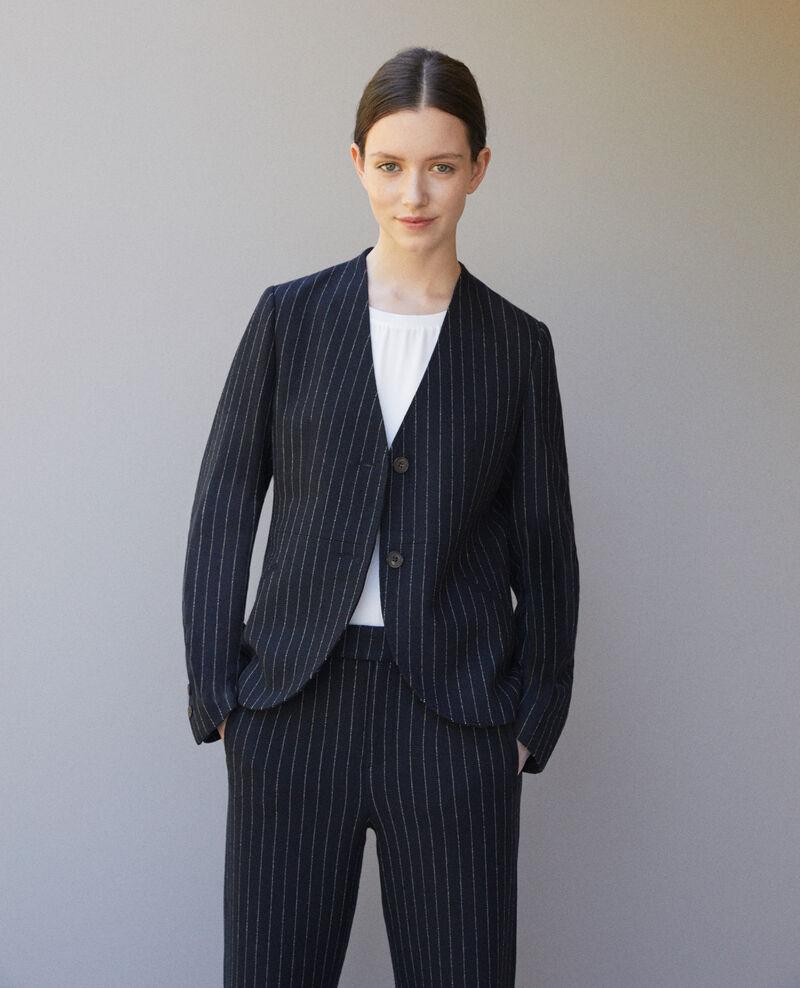 Veste tailoring sans col Navy/off white Goluring