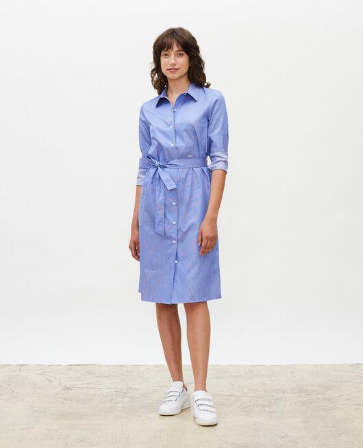 Robe chemise ceinturée en coton BLUE AS PROTO