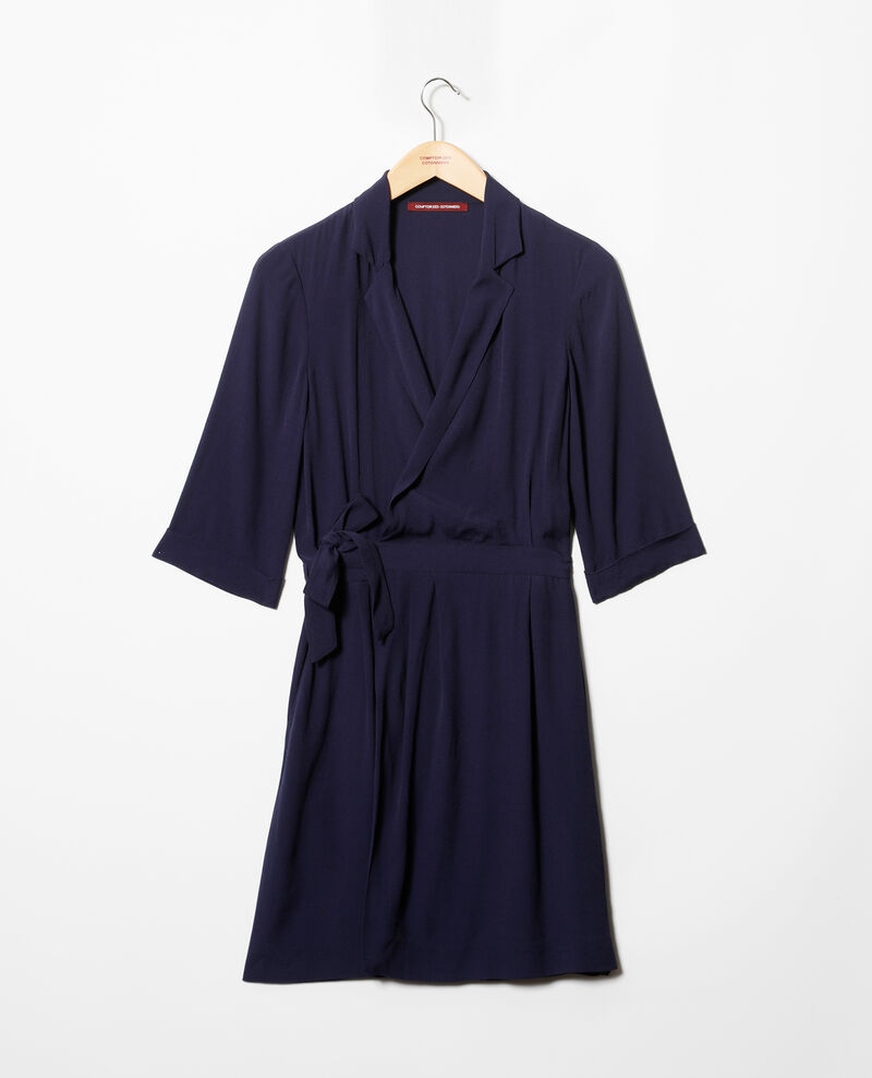 Robe portefeuille en viscose Bleu marine Gideen