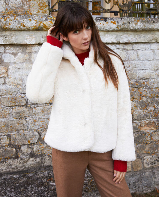 Manteau court en fourrure synthétique OFF WHITE