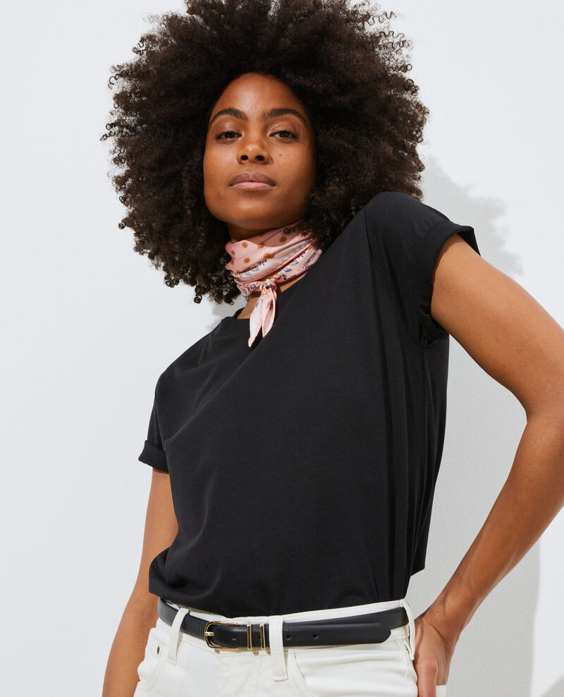 T-shirt fluide col rond Black beauty Pirous
