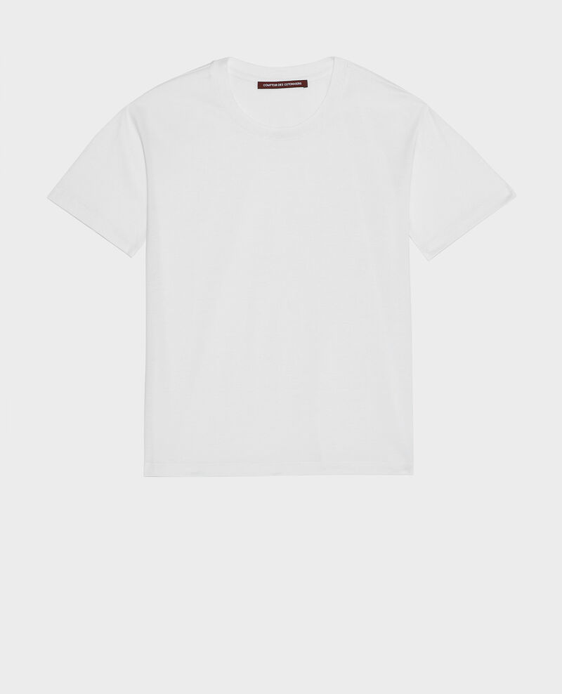 T-shirt coton manches courtes col rond Optical white Lirous