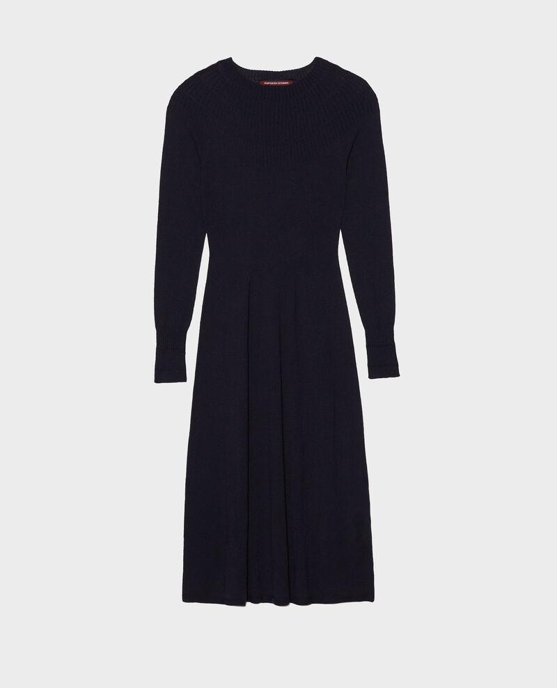 Robe en laine mérinos évasée à col rond Night sky Malouy