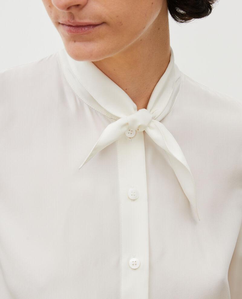 Chemise en soie manches longues col noué Gardenia Margueray
