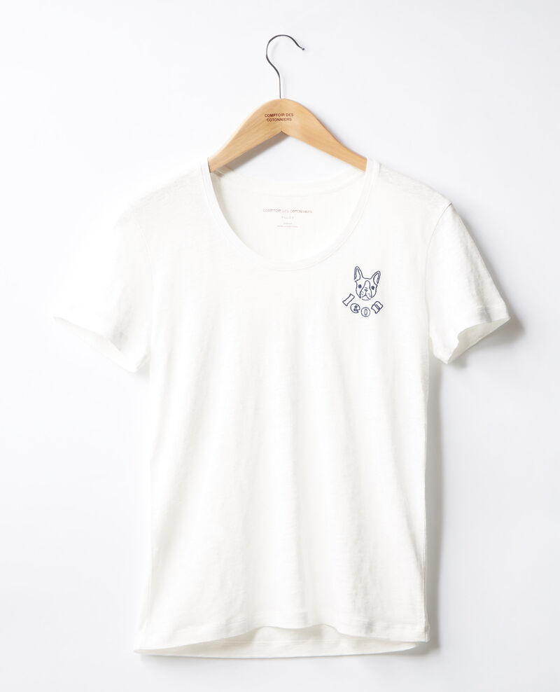 T-shirt en lin brodé Blanc/indigo Folong