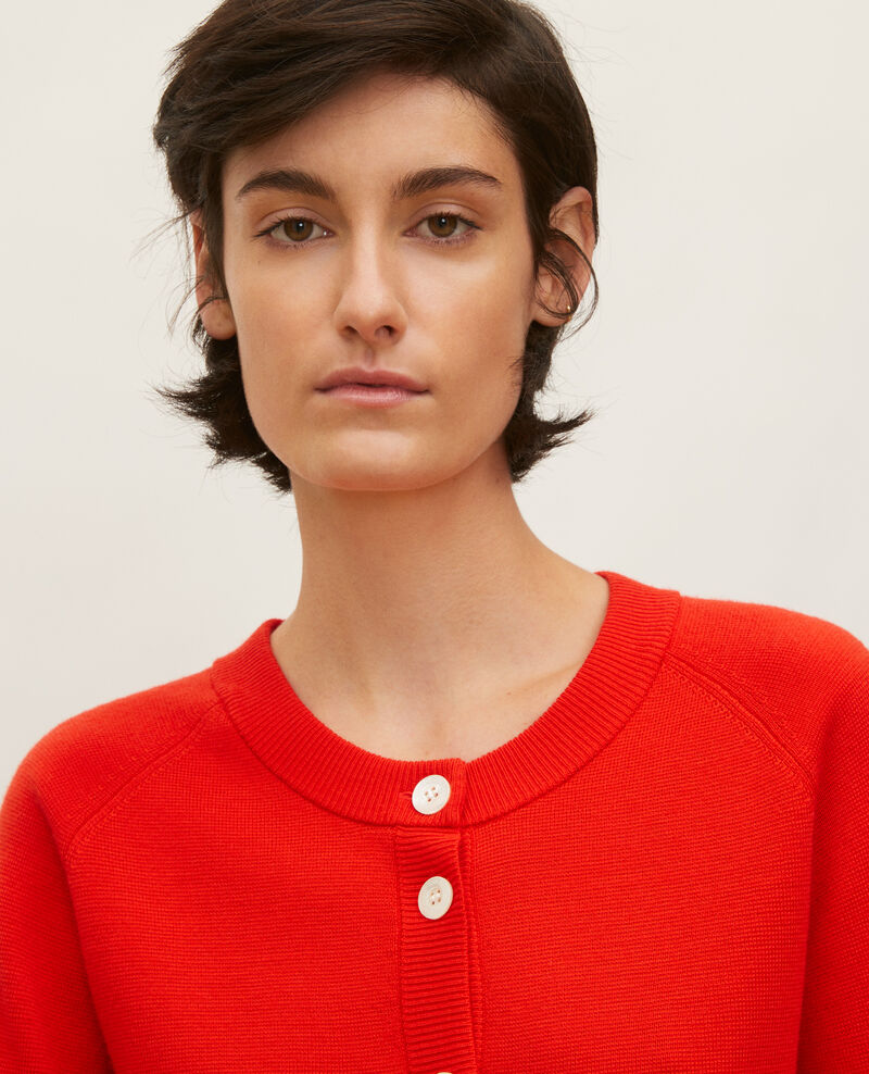 Cardigan col rond en laine Fiery red Louvres