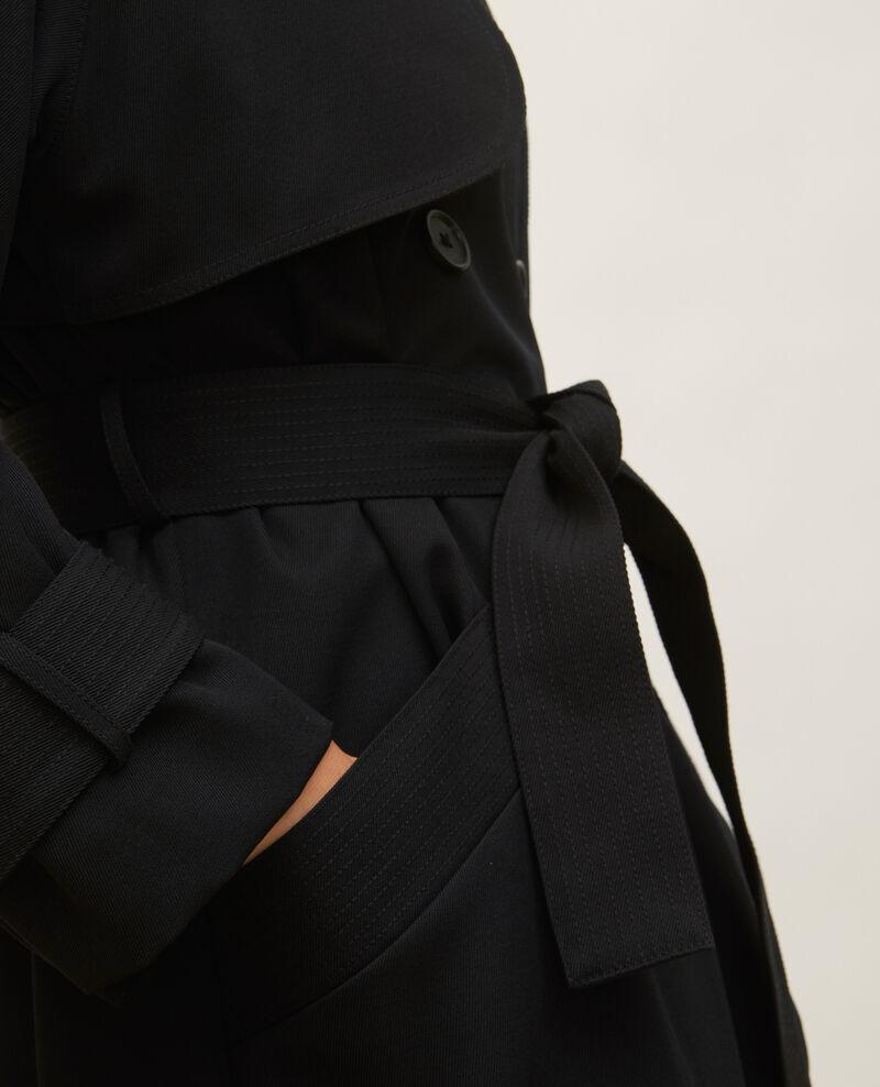 Trench oversize en laine fluide Black beauty Laiko
