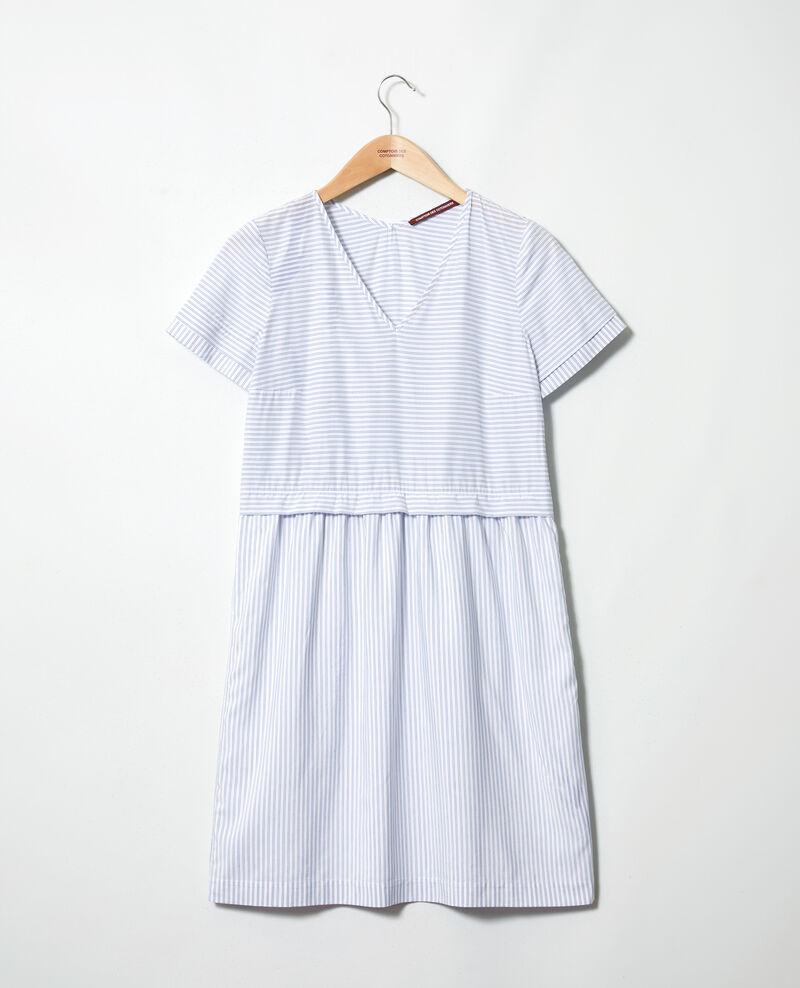 Robe col V à rayures Blanc/indigo Iagibus
