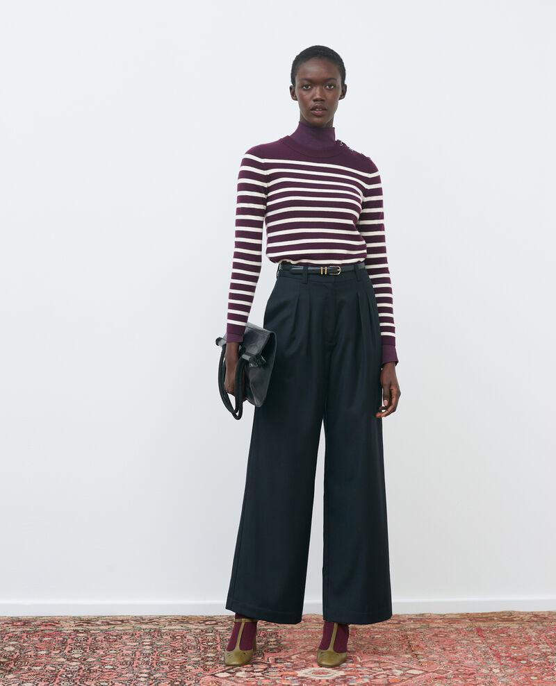 Pantalon YVONNE, large en laine taille haute Black beauty Mafare