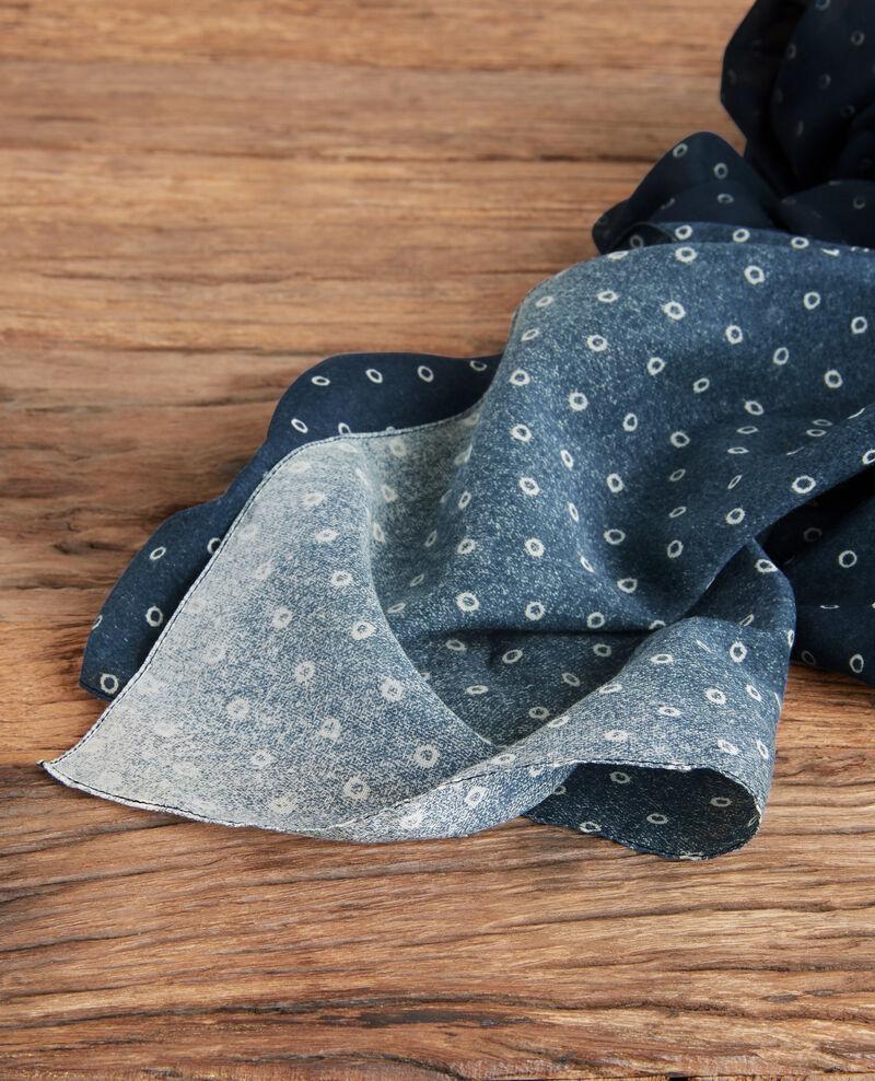 Foulard imprimé en coton et soie Ring dots indigo Forban