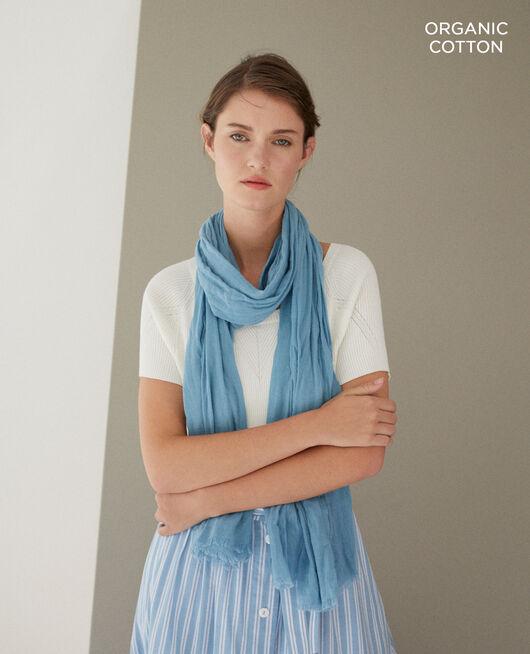 Foulard en coton organique Bleu