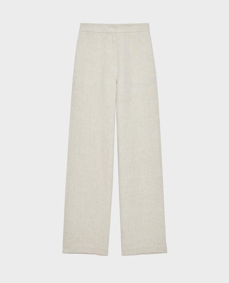 Pantalon taille haute en lin Natural linen Neronde