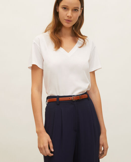 T-shirt en coton à manches courtes col V OPTICAL WHITE