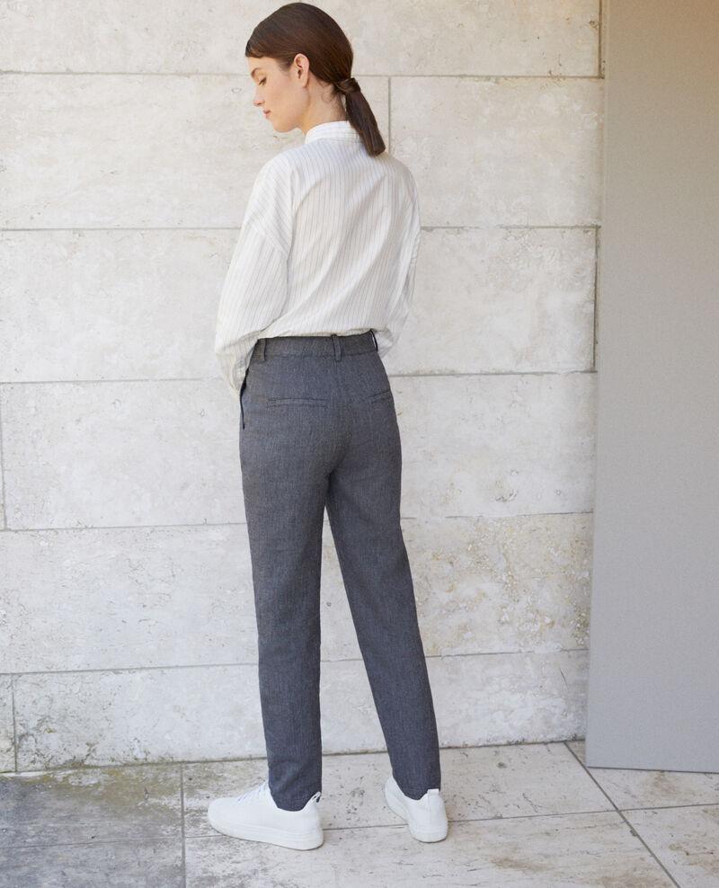Pantalon en lin et laine Medieval blue Gaulicien