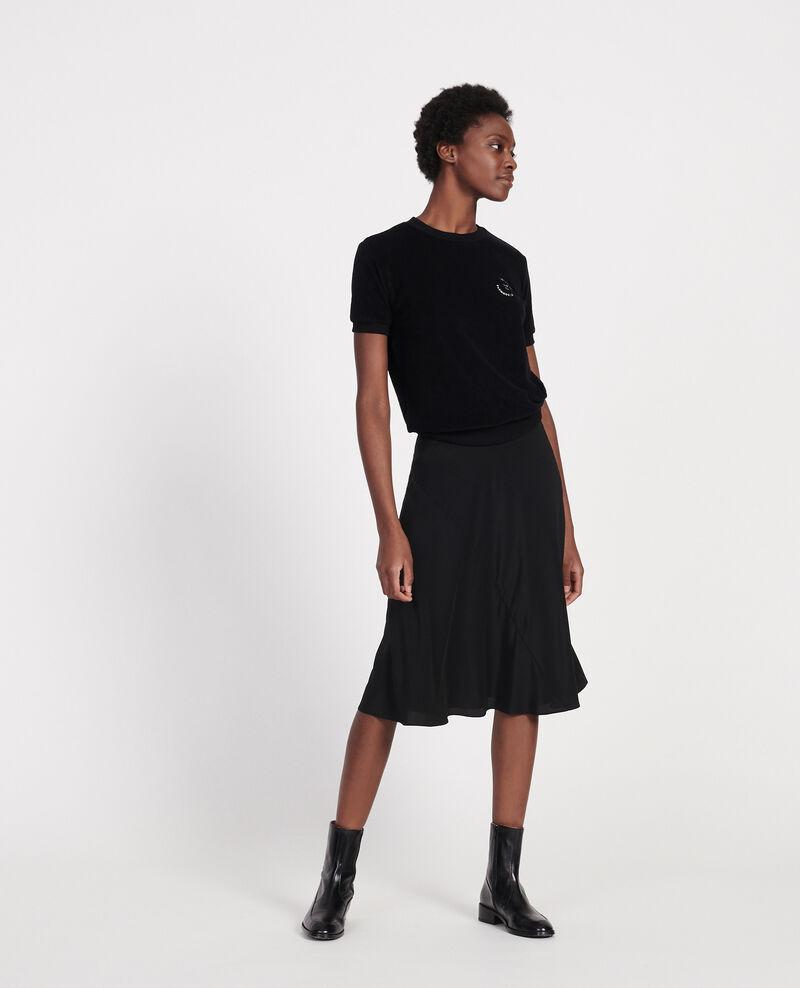 Jupe évasée en soie Black beauty Lido