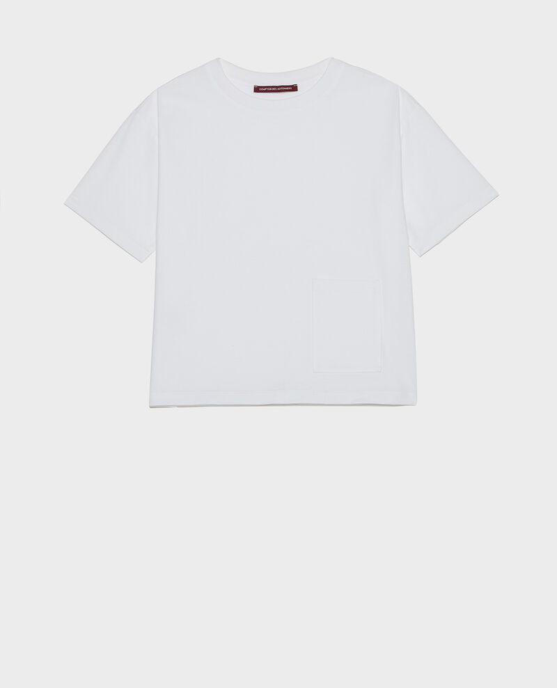 T-Shirt boxy en coton mercerisé Optical white Lexana