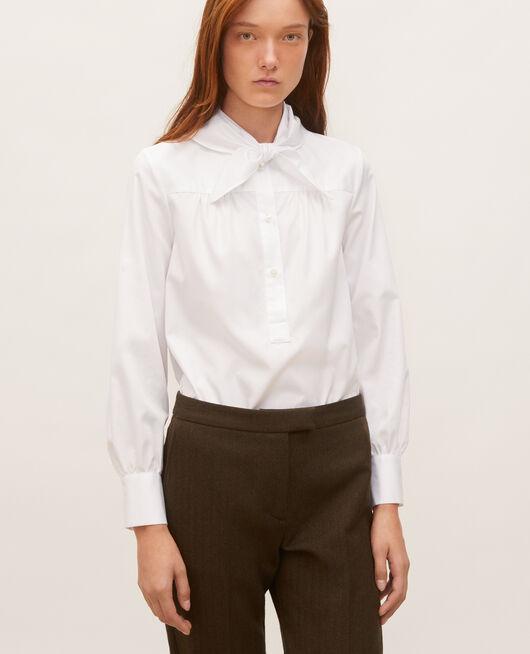 Blouse en coton à col foulard amovible BRILLIANT WHITE