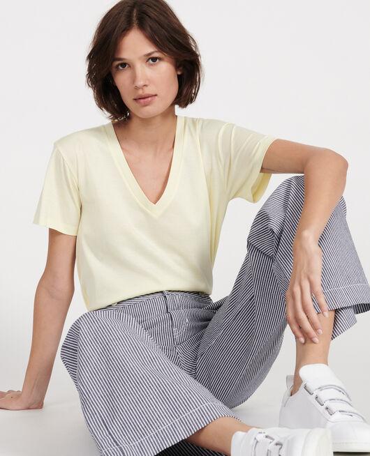 T-shirt en coton à manches courtes col V TENDER YELLOW
