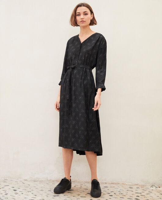 Robe mi-longue imprimée HURLY BURLY NOIR