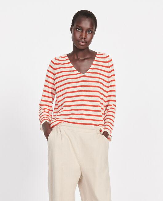 T-shirt en lin STRIPES BUTTERCREAM FIERY RED