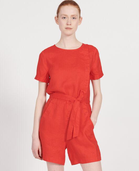 Combi-short en lin FIERY RED